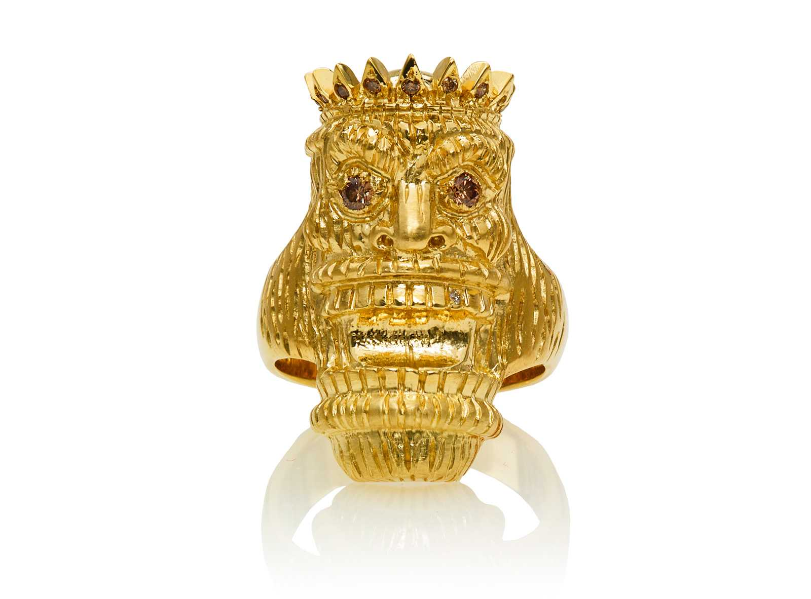 Kupu (Tiki Ring with Long Face) :: Yellow Gold with White ...