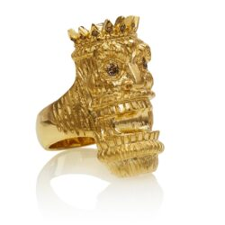 RG7014 Kupu (Tiki Ring with Long Face) :: Ring in Yellow Gold with White & Chocolate Diamonds (Tiki Collection)