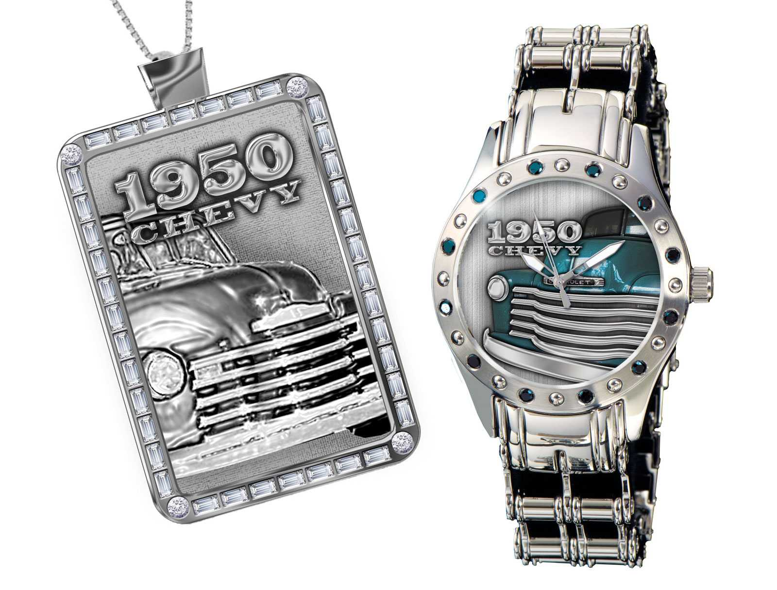 """1950 Chevy"" Custom Watch & Dog Tag Set"