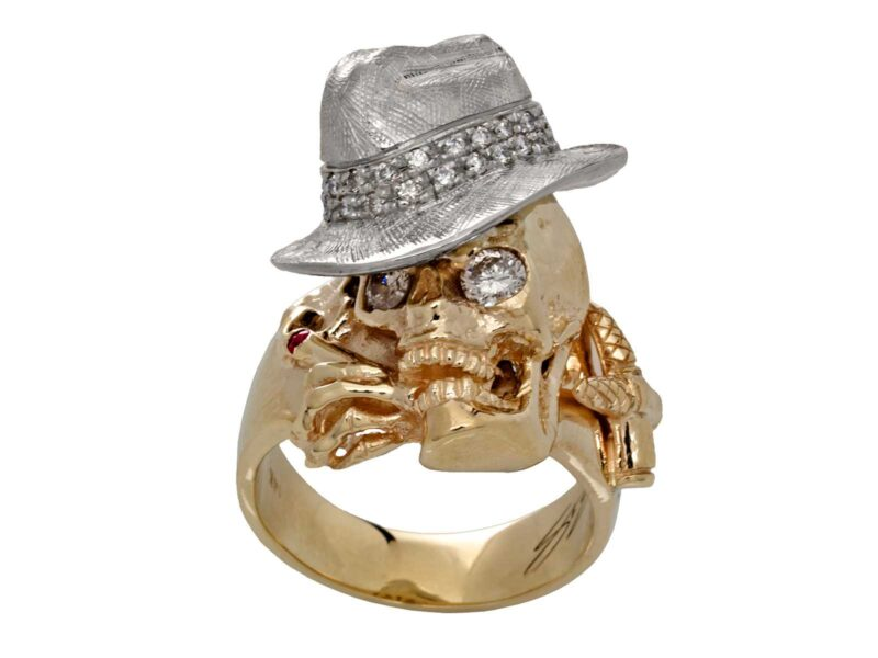 RG1000-A The Gangster Skull Ring (Front View) in Yellow & White Gold with White Diamonds, designed by Steve Soffa