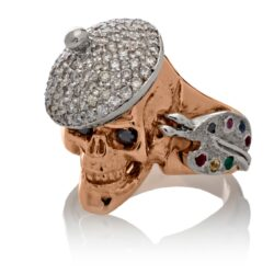 RG1004-A The Artist Skull Ring (Left Front View) in Rose and White Gold, with White and Black Diamonds, designed by Steve Soffa