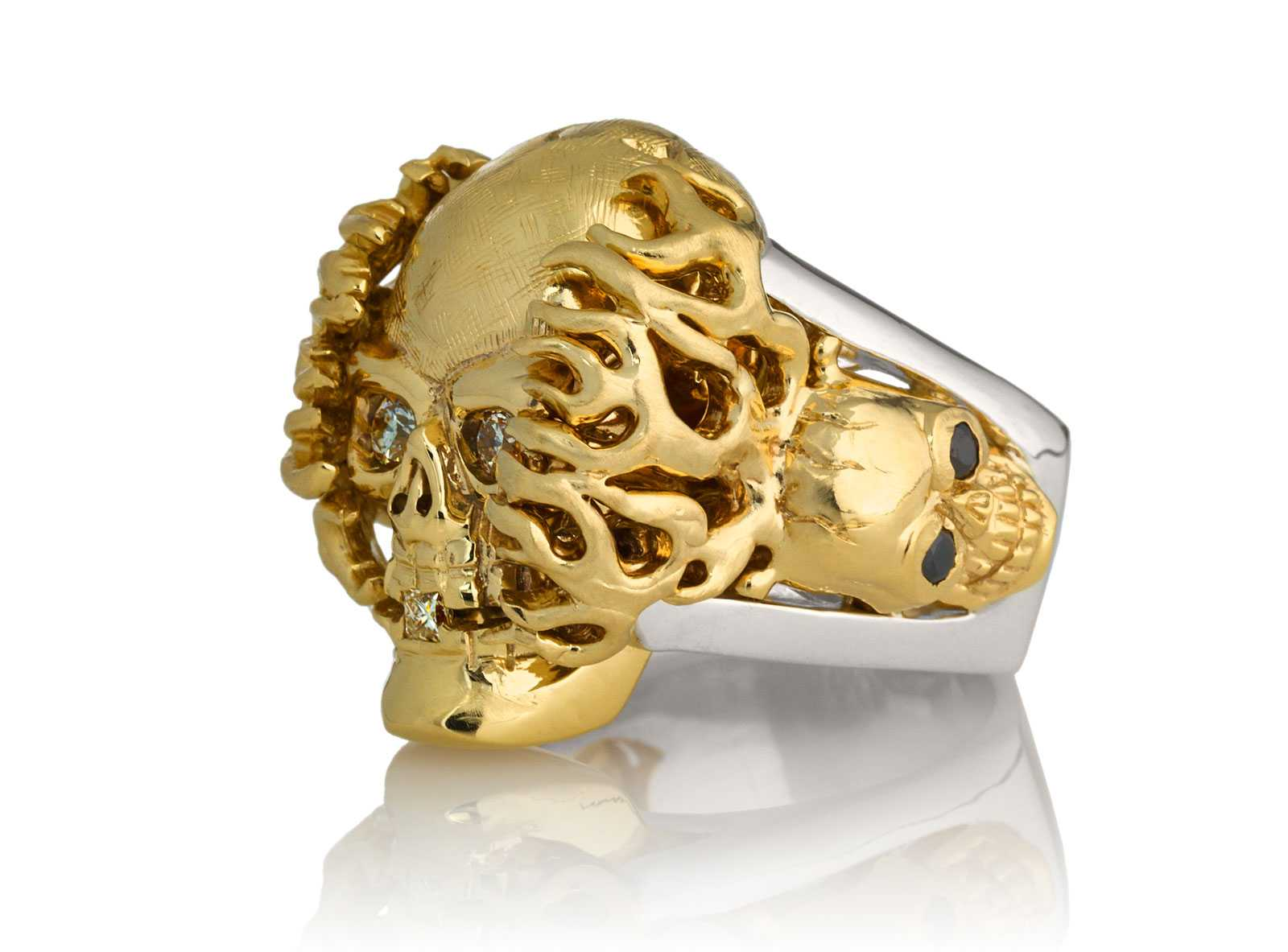 RG1020YGSIL Hot Head Harry Skull Ring (Left Side View) in Yellow Gold and Silver with White and Black Diamonds, designed by Steve Soffa