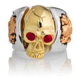 RG1030YGSIL-A Judge and Jury Skull Ring (Front View) in Yellow Gold and Sterling Silver with Rubies and White Diamonds, designed by Steve Soffa