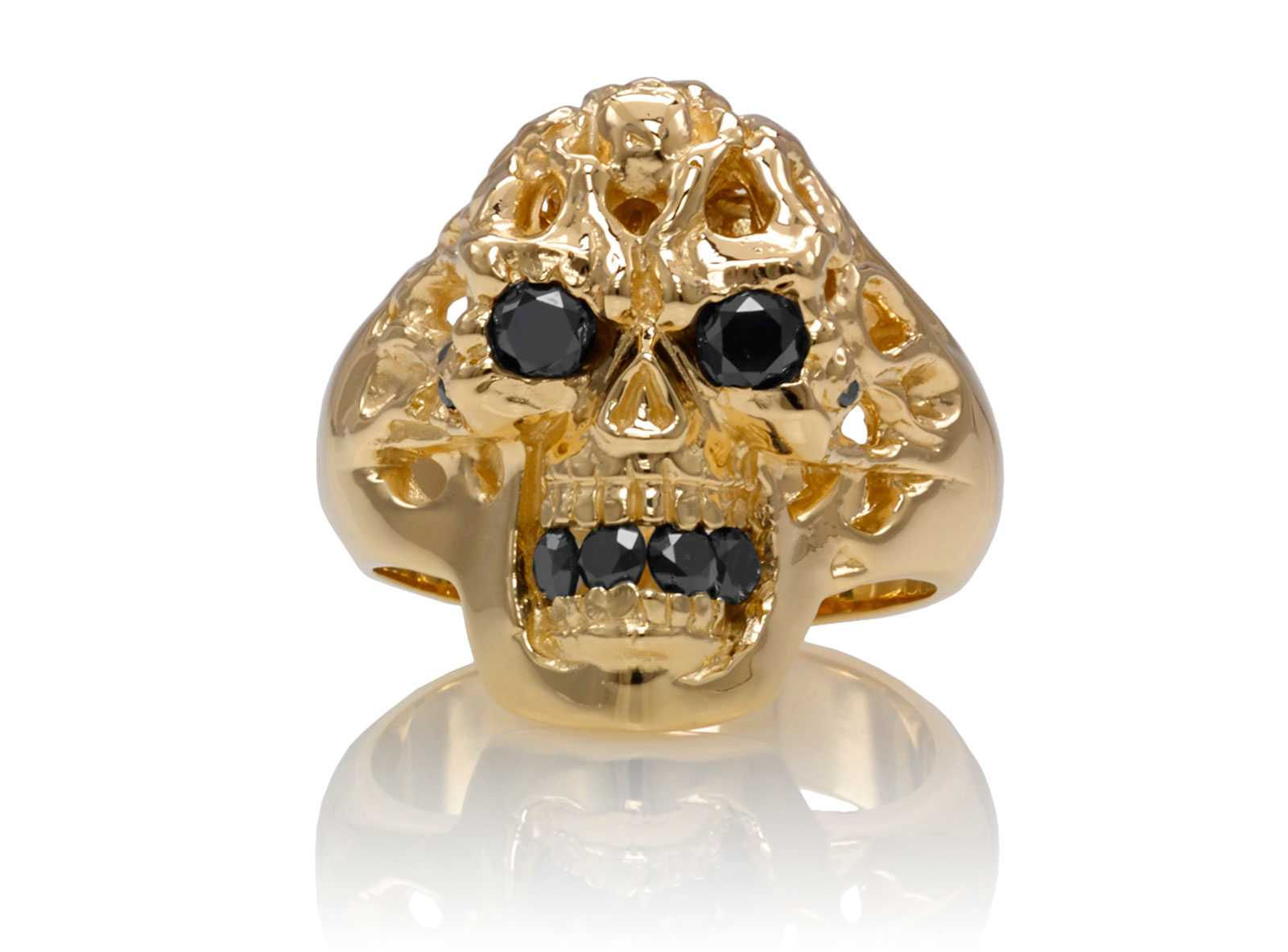 RG1140-A Brainiac skull ring Yellow Gold with Black Diamonds, designed by Steve Soffa