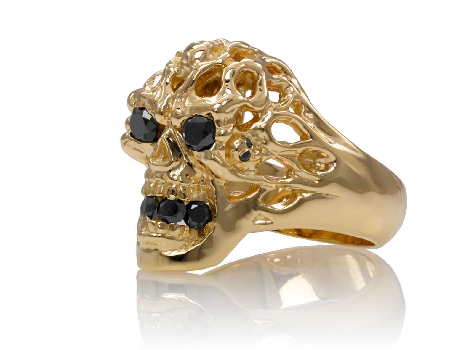 Brainiac Skull Ring Yellow Gold With Black Diamonds