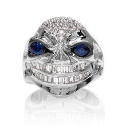 RG3026WG-A Vicious Vinnie Skull Ring (Front View) in White Gold with White Diamonds and Blue Sapphires, designed by Steve Soffa