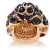 RG3022RG-A Blazing Bruno Skull Ring (Front View) in Rose Gold with Black Diamonds, designed by Steve Soffa