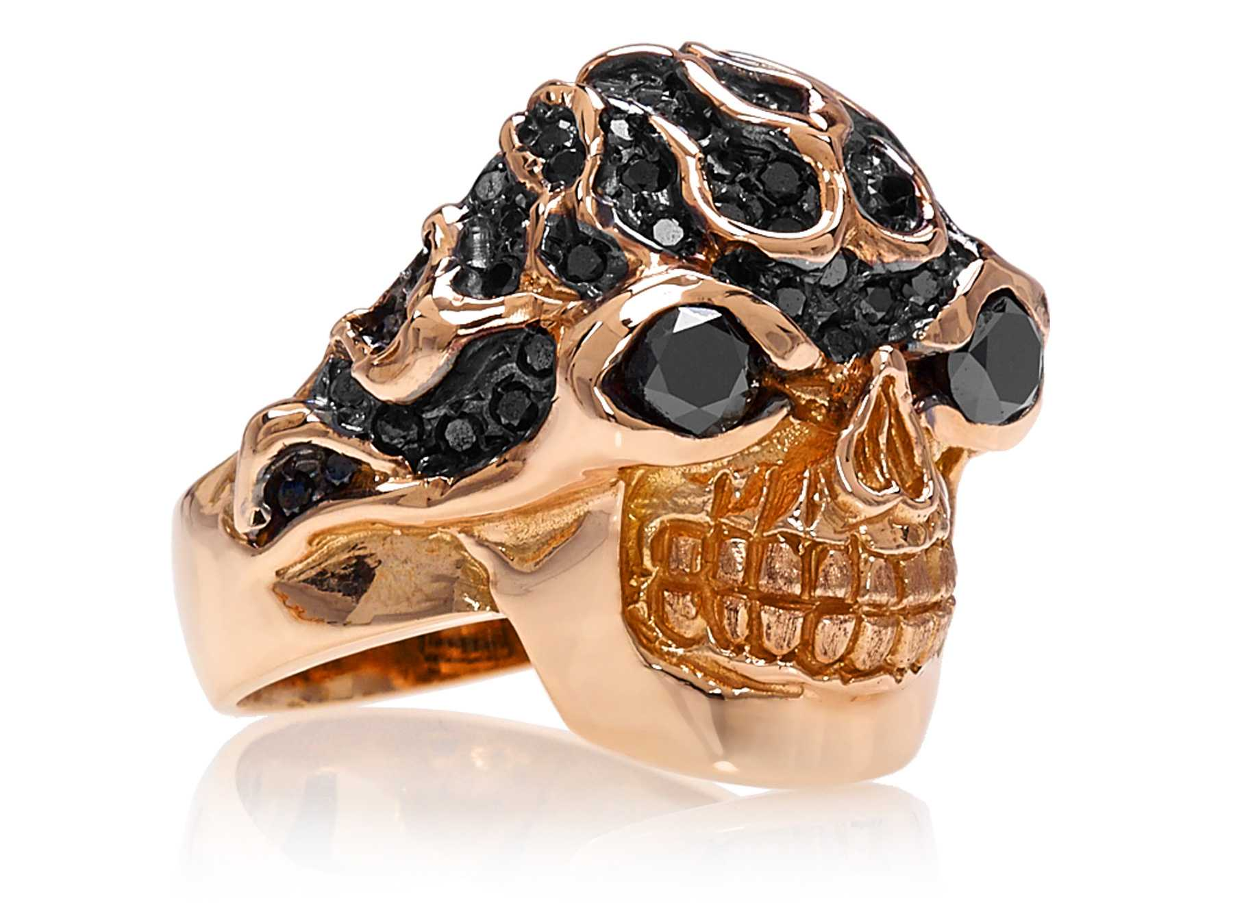 RG3022RG-A Blazing Bruno Skull Ring (Front Side View) in Rose Gold with Black Diamonds, designed by Steve Soffa