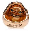RG3022RG-A Blazing Bruno Skull Ring (Back View / Gallery) in Rose Gold with Black Diamonds, designed by Steve Soffa