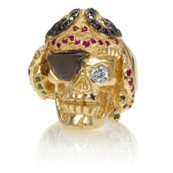 RG1041 Caribbean Queen Ladies Pirate Skull Ring (Front View) in Yellow Gold with White and Black Diamonds and Rubies, designed by Steve Soffa