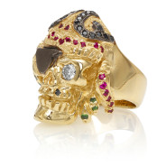 RG1041 Caribbean Queen Ladies Pirate Skull Ring (Front Left Side View) in Yellow Gold with White and Black Diamonds and Rubies, designed by Steve Soffa