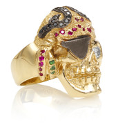 RG1041 Caribbean Queen Ladies Pirate Skull Ring (Front Right Side View) in Yellow Gold with White and Black Diamonds and Rubies, designed by Steve Soffa
