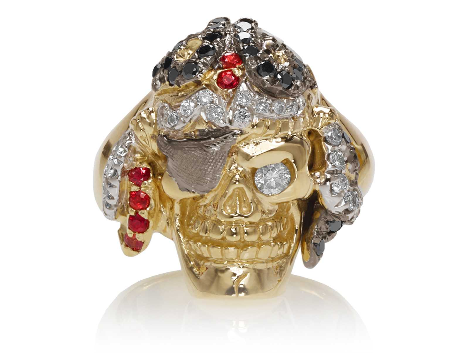 RG1042 Captain Morgan Men's Pirate Skull Ring (Front View) in Yellow Gold with White and Black Diamonds, with Orange Sapphires, designed by Steve Soffa