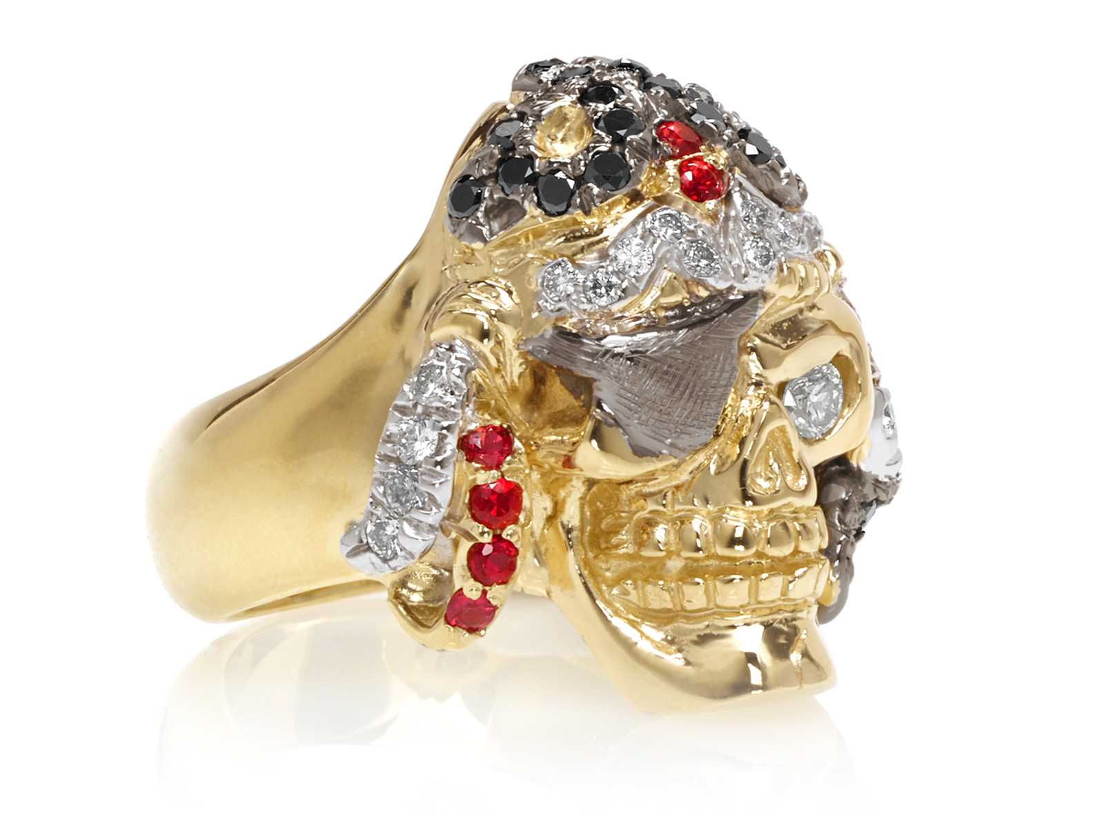 Captain Morgan Men S Pirate Skull Ring In Yellow Gold