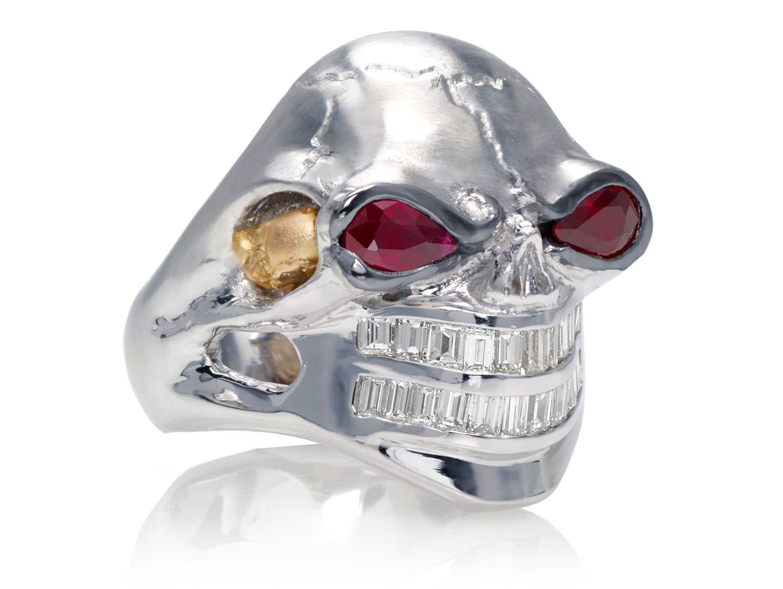 RG3020WH-A Monstrous Max Skull Ring (Front Side View) in White Gold and Rose Gold with Ruby eyes and Diamond teeth, designed by Steve Soffa