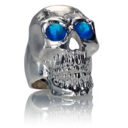 RG350B Barbarian Skull Ring Large Sterling Silver with Blue Stones, designed by Steve Soffa