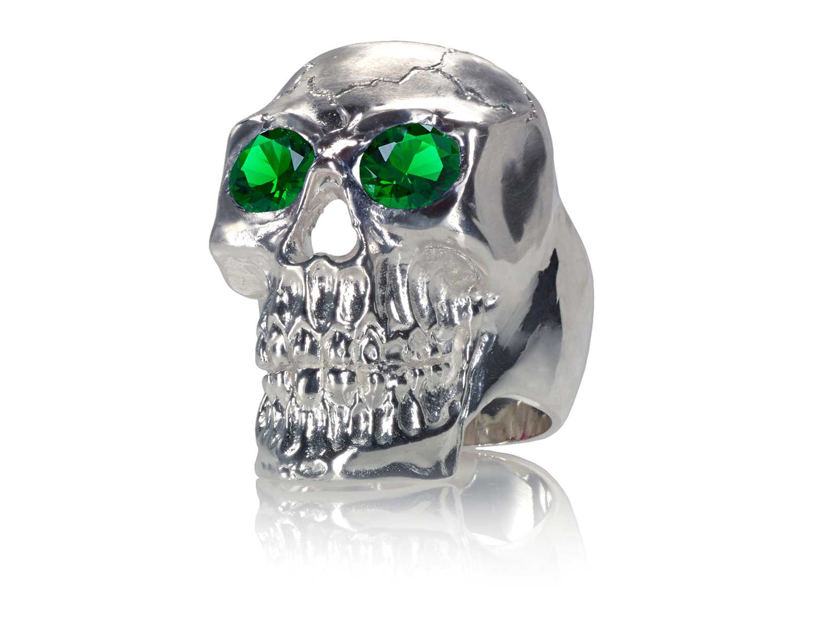 RG350C Barbarian Skull Ring Large Sterling Silver with Green Stones, designed by Steve Soffa