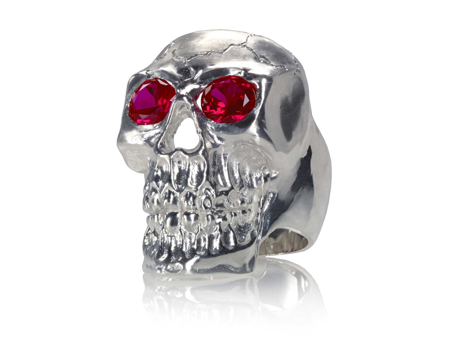RG350A Barbarian Skull Ring Large Sterling Silver with Red Stones, designed by Steve Soffa