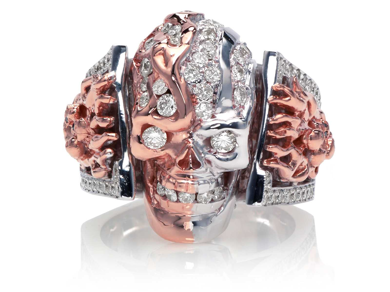 RG5000-B Two Face skull ring (Front View) in Rose and White Gold with White and Black Diamonds, designed by Steve Soffa