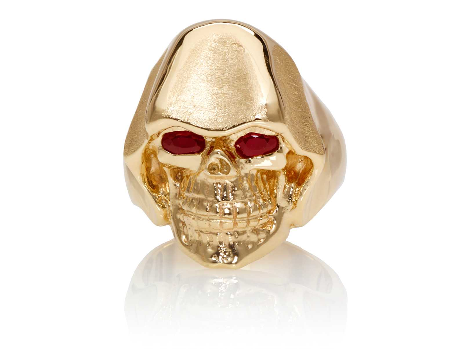 RG5010-A The Reaper Is In Skull Ring (Front View) Yellow with Rose Gold, with Red Rubies, designed by Steve Soffa