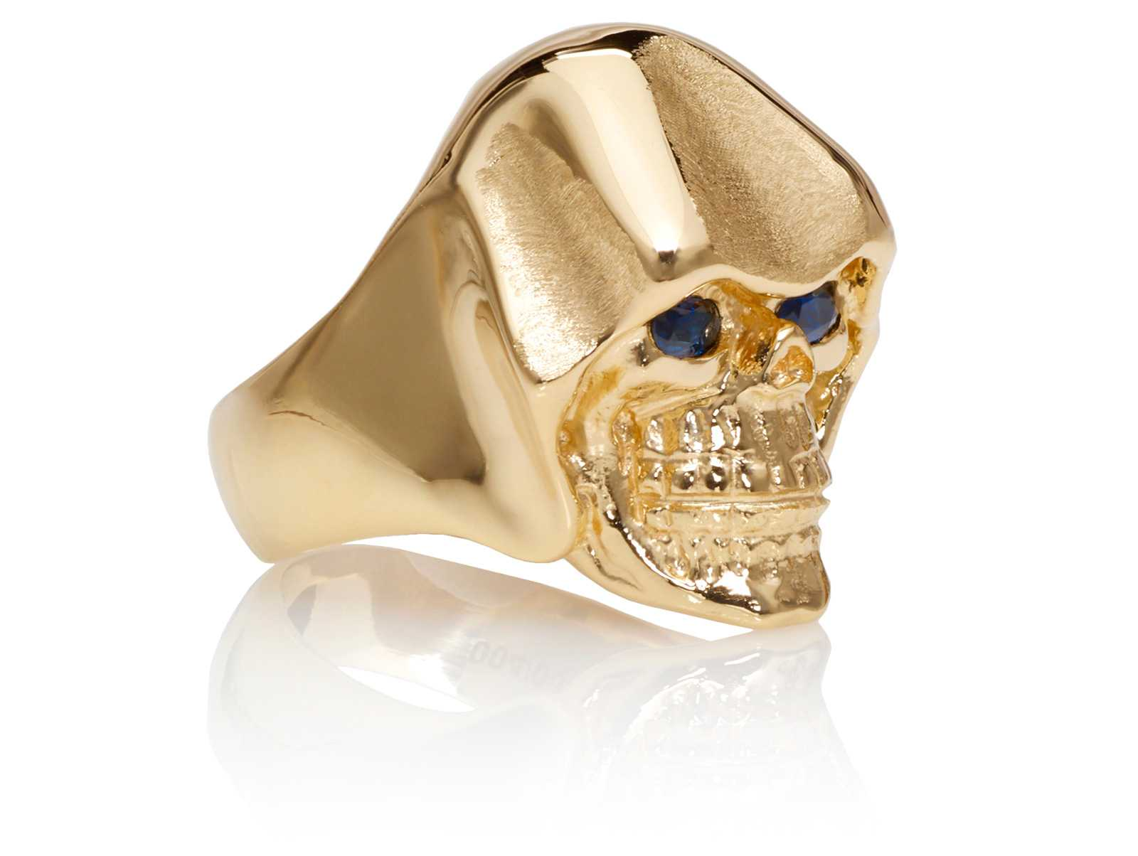 RG5010-B The Reaper Is In Skull Ring (Right Side Front View), Yellow with Rose Gold, with Blue Sapphires, designed by Steve Soffa
