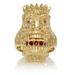 RG7014-YG-B Kupu (Tiki Ring with Long Face) Yellow Gold with White & Chocolate Diamonds and Garnets (Tiki Collection)