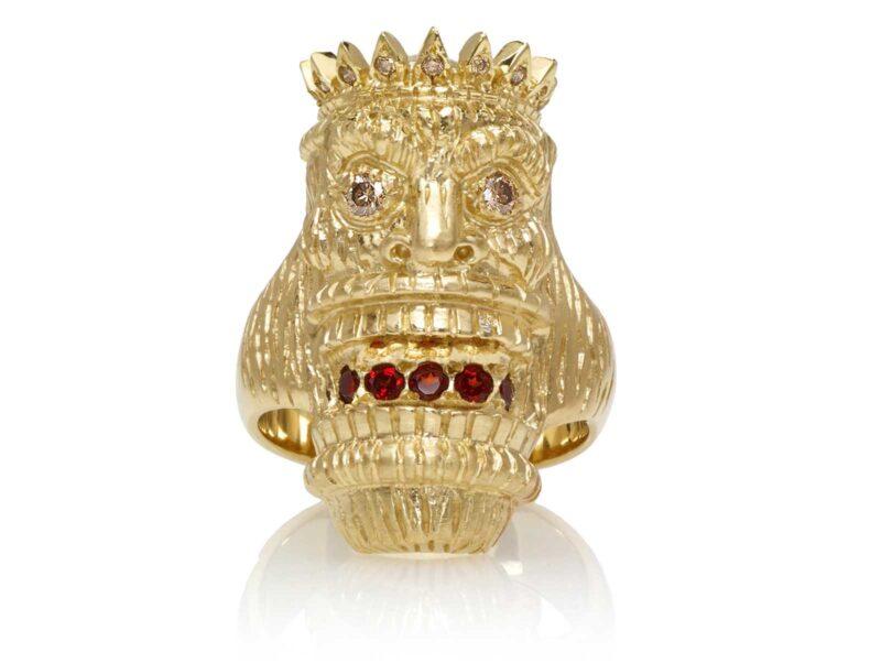 RG7014-YG-B Kupu (Tiki Ring with Long Face) Yellow Gold with White & Chocolate Diamonds and Garnets (Tiki Collection)