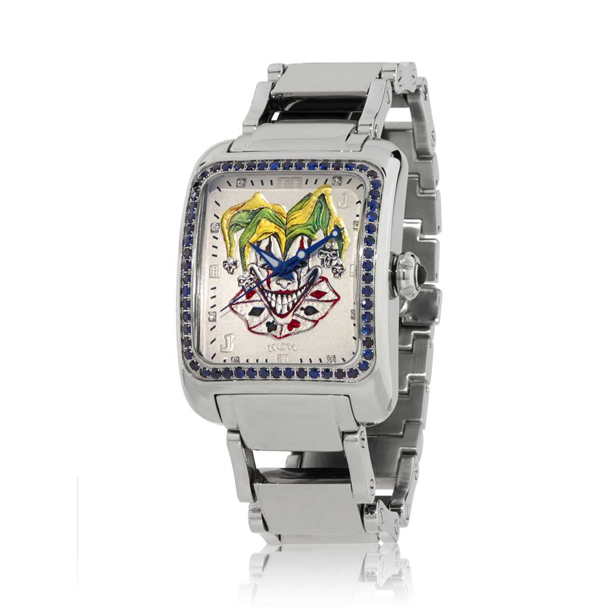 HCW308-DC-SAP Joker Poker Watch :: in Stainless Steel, 2ct VS Blue Sapphires, designed by Steve Soffa