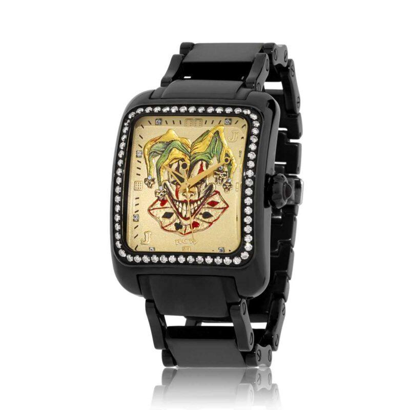 HCW308BK-DC Joker Poker Watch in Stainless Steel, 2ct VVS White Diamonds, Black/Gold IP (Diamond Collection), designed by Steve Soffa