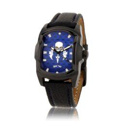 HCW106LTR-BK-BLCF Blade Runner 2 Watch in Leather Bracelet, Blue Face, designed by Steve Soffa