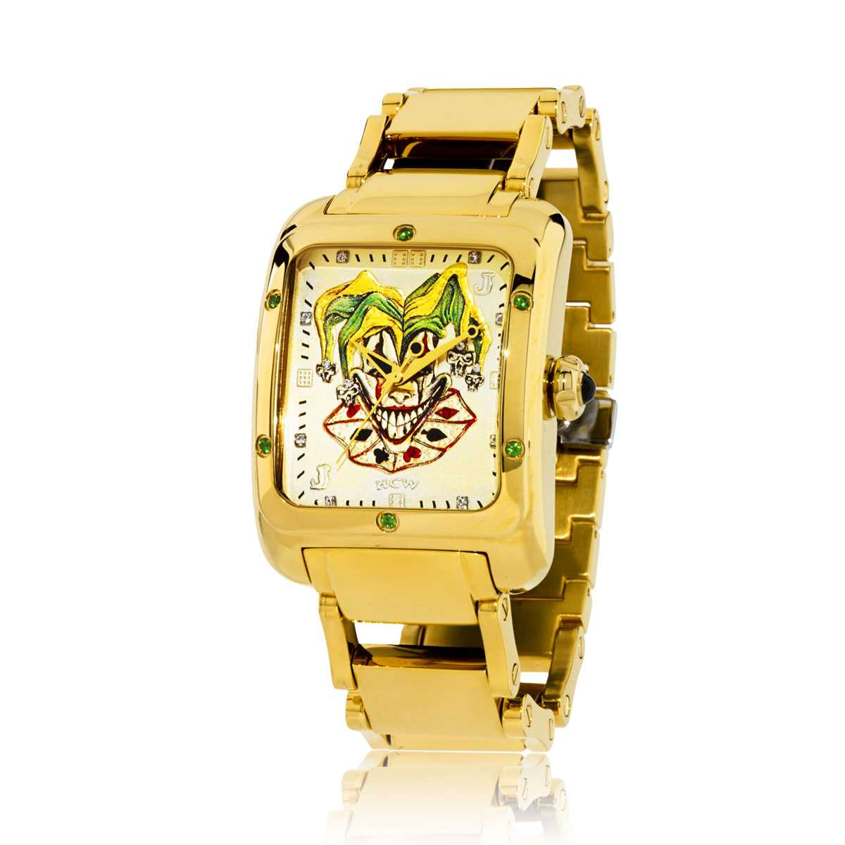 Joker Poker Watch in Stainless Gold IP Bracelet with .30ct Emeralds, designed by Steve Soffa