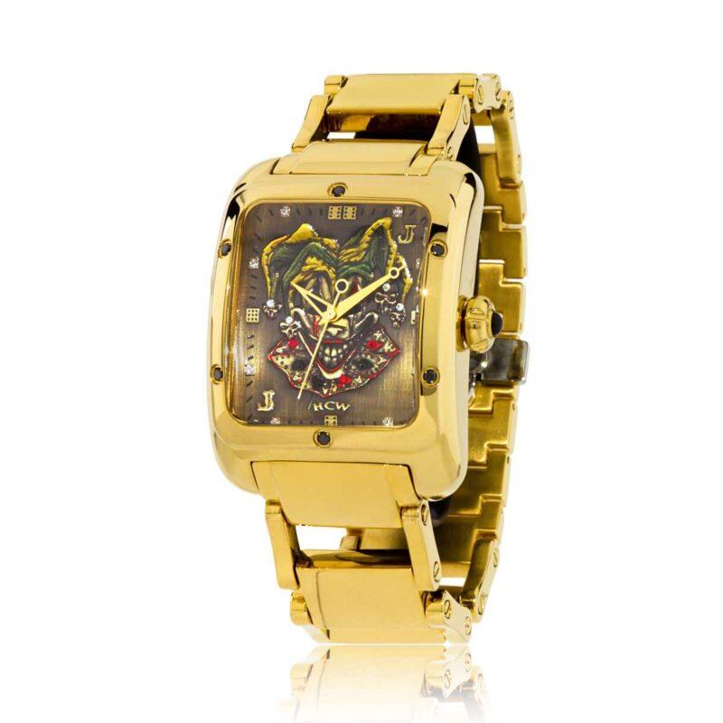 Joker Poker Watch in Stainless Gold IP Bracelet with .30ct Black Diamonds, designed by Steve Soffa