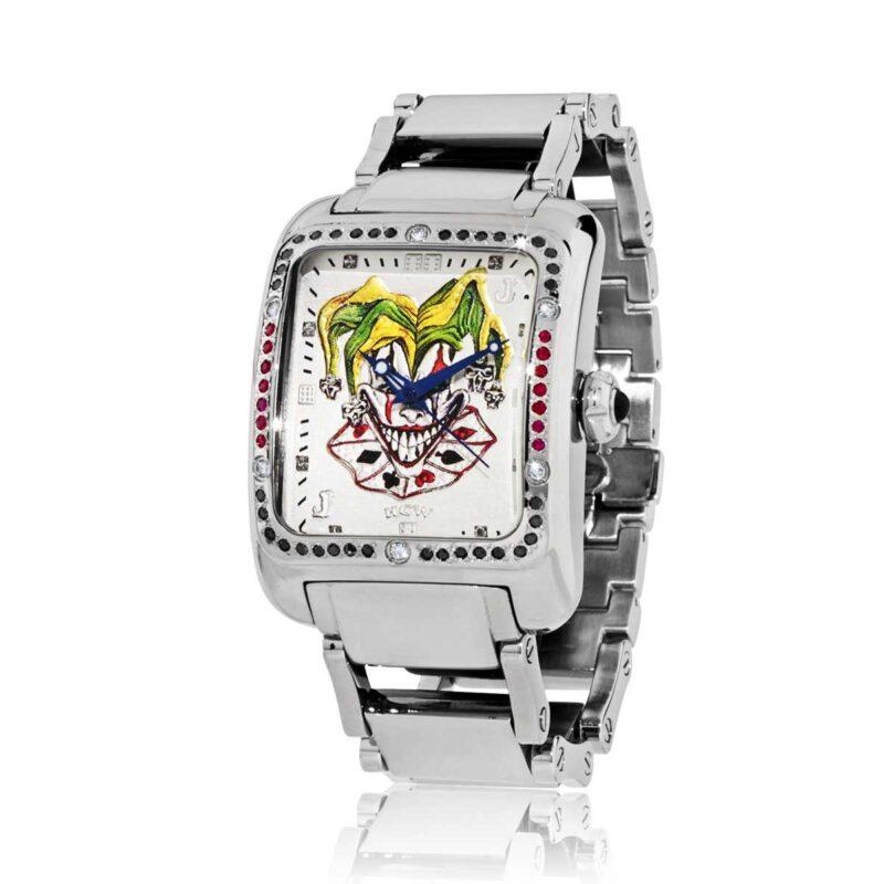 Joker Poker Watch in Stainless Steel Bracelet in White Diamonds and Rubies, designed by Steve Soffa