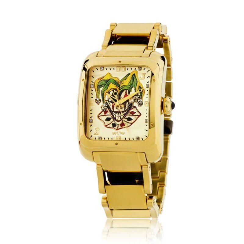 Joker Poker Watch in Stainless Steel Gold IP Bracelet, designed by Steve Soffa
