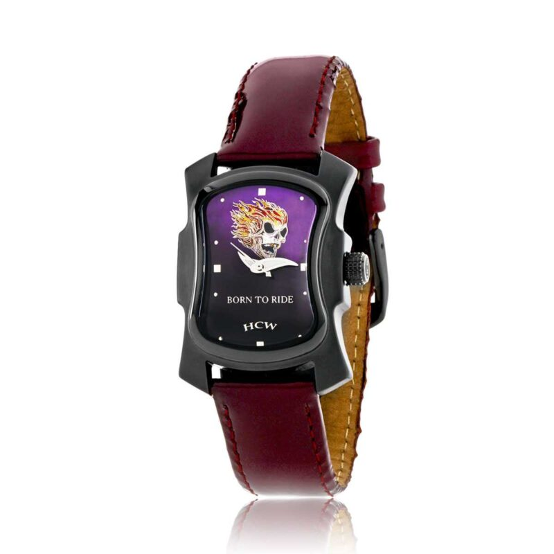 The Freedom Rider Watch in Black IP Finish SS, Wine Patent Leather Strap, designed by Steve Soffa.