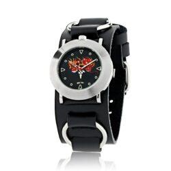 Twins of Terror Watch in Black Leather Bracelet, designed by Steve Soffa