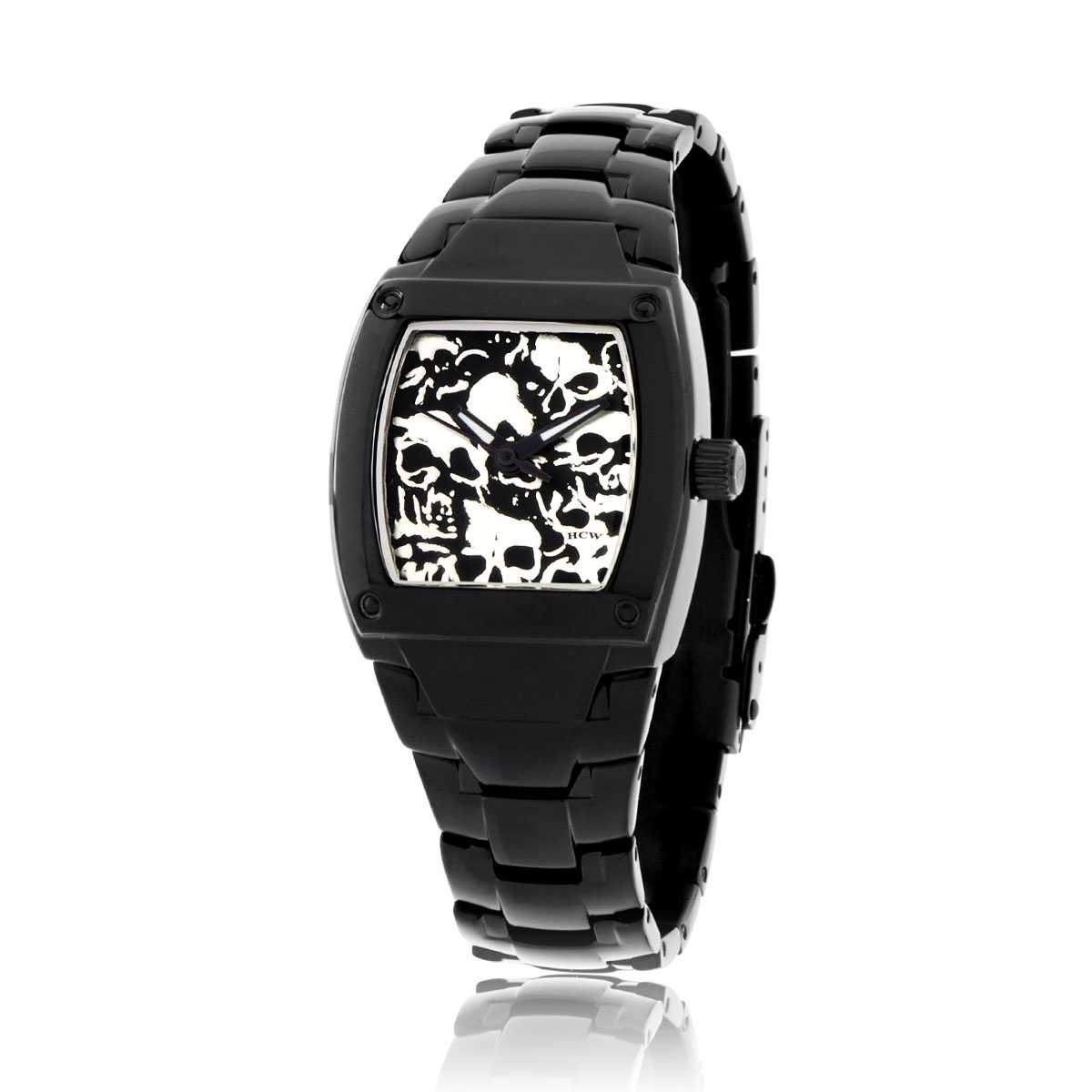 Lost Skulls Ladies Watch in Black Stainless Steel, Die Struck Dial, designed by Steve Soffa