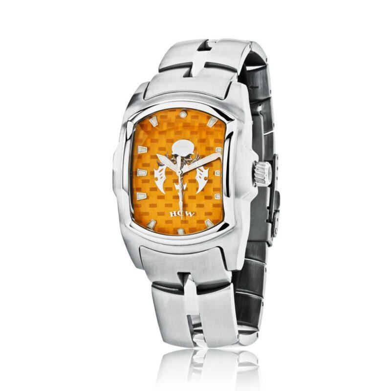 Blade Runner 2 Watch in SL Stainless Steel Bracelet, Orange Face, designed by Steve Soffa