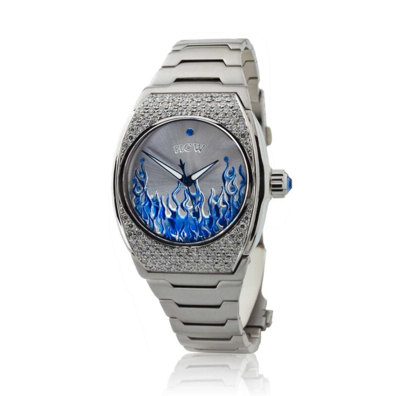 ART704-DC-3 Flaming Ice Watch in Stainless Steel with 4.5ct White Diamonds, designed by Steve Soffa