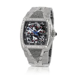 HCW806DC-SS-BKWT Lost Skulls Watch Stainless Steel with 3.5 ct Black Diamonds and 1ct White Diamonds