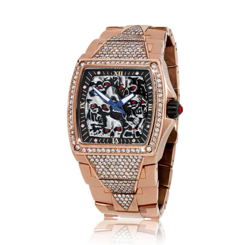 HCW806DC-RG Lost Skulls Watch Rose Gold-Plating over Stainless Steel with 7.0ct White Diamonds