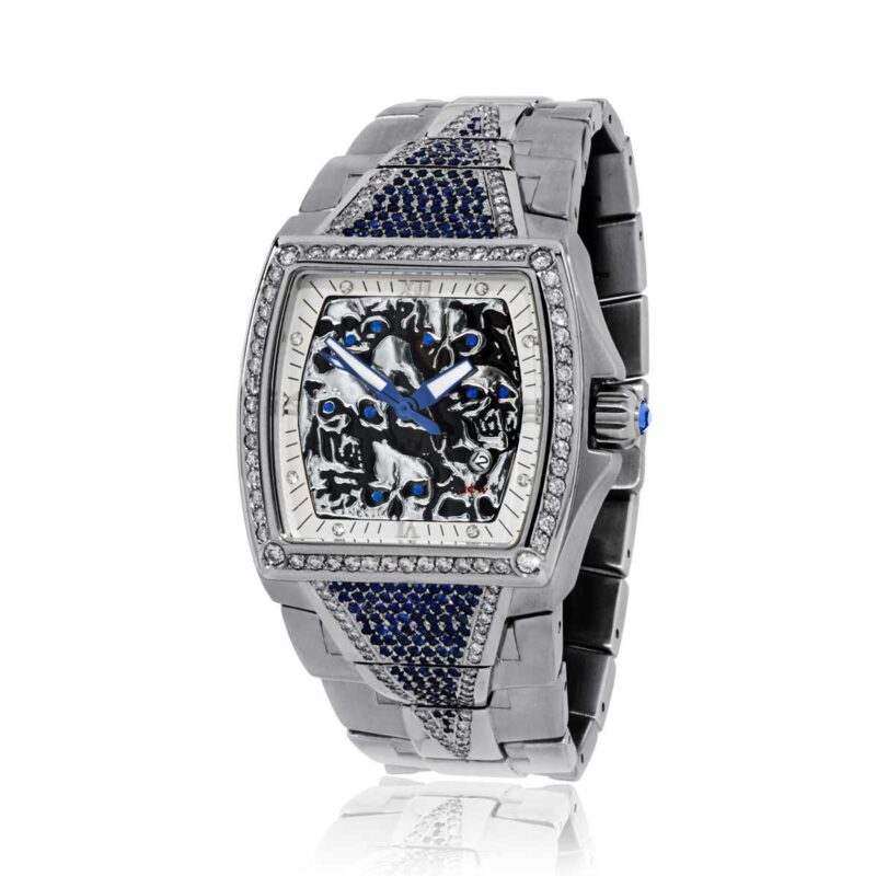 HCW806DC-SS-SAP Lost Skulls Watch in Stainless Steel with 3.5 ct Blue Sapphires and 1ct White Diamonds