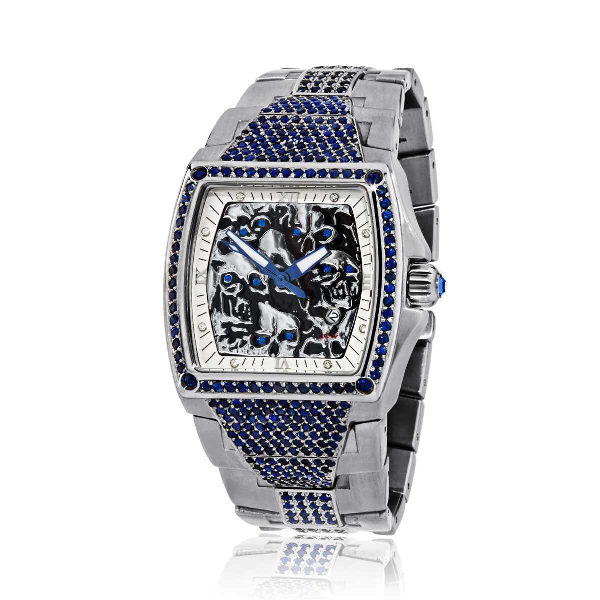 HCW806-SS-SAP Lost Skulls Watch in Stainless Steel with 4.5 ct Blue Sapphires, designed by Steve Soffa