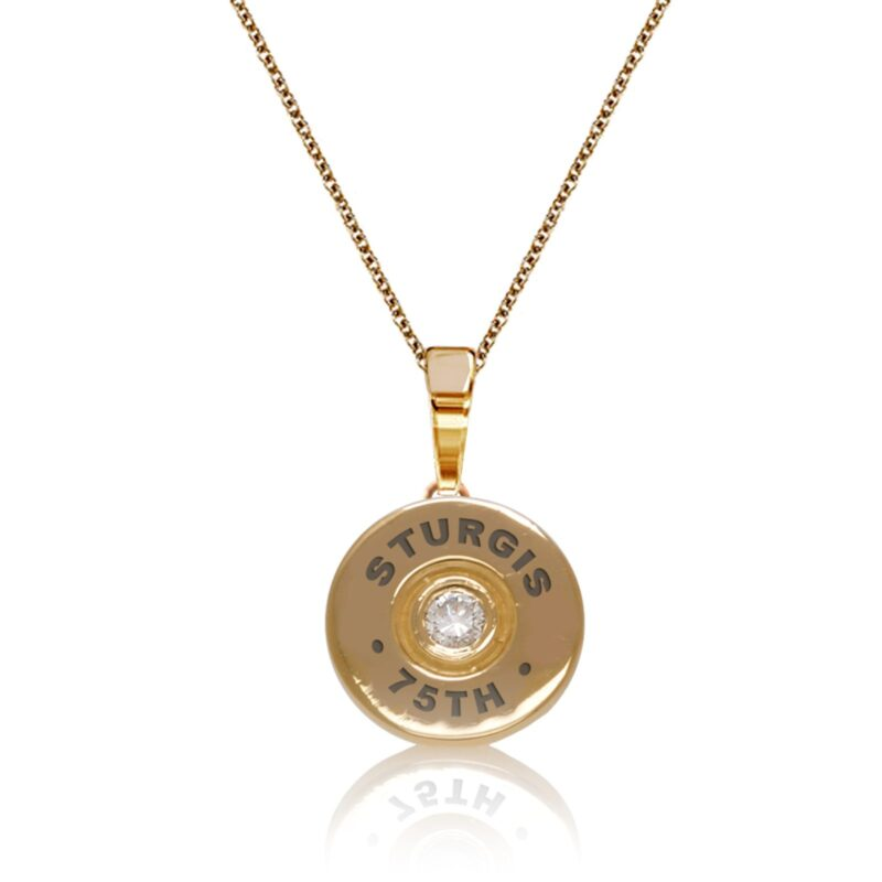 "Sturgis 75th Anniversary Pendant ""Bullet"" :: in Yellow Gold with White Diamond"