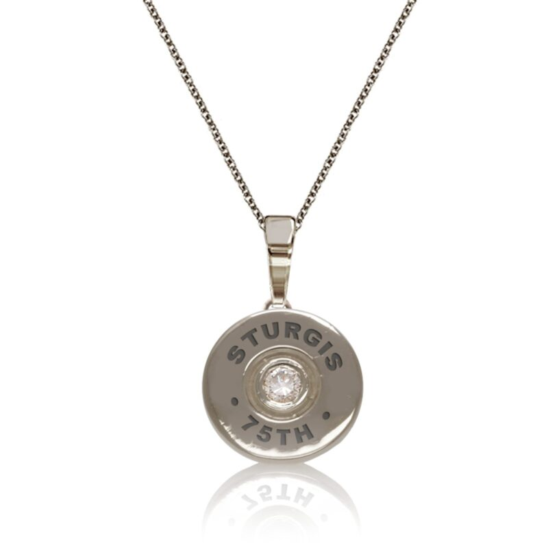 "Sturgis 75th Anniversary Pendant ""Bullet"" :: in White Gold with White Diamond"