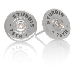 """Sturgis 75th Anniversary Earring """"Bullet"""" :: in White Gold with White Diamond"""