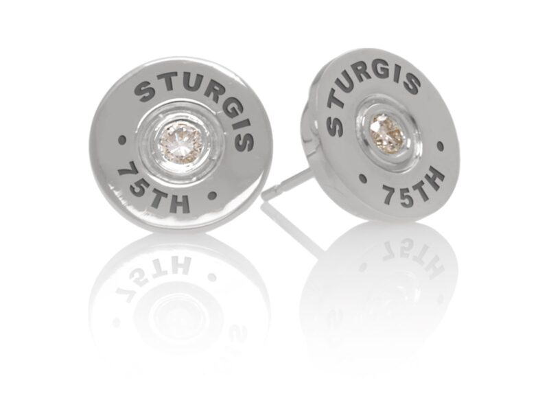 "Sturgis 75th Anniversary Earring ""Bullet"" :: in White Gold with White Diamond"