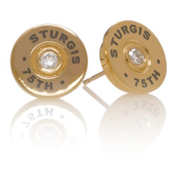 "STUEAR203YG Sturgis 75th Anniversary ""Bullet"" Earrings :: in Yellow Gold with White Diamond"