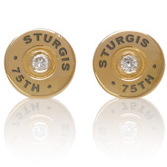 """Sturgis 75th Anniversary """"Bullet"""" Earrings :: in Yellow Gold with White Diamond"""