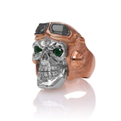 RG8010-RG Aviator Skull Ring 1 Front Right Angle